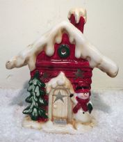 Glazed Ceramic Christmas Grotto House with Snowman Tea Light Candle Holder